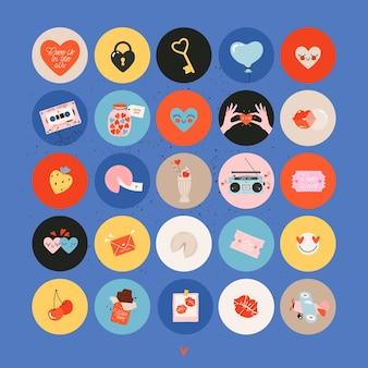 Set vintage valentijnsdag iconen voor social media en print