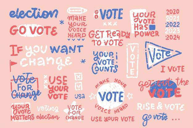 Set vintage verkiezingsbeletteringen en composities. tekst hand getekend.