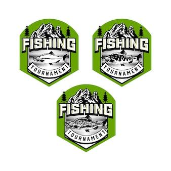 Set vintage vissersclub badge embleem