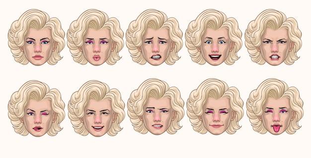 Set vintage vrouwenstijl in verschillende gezichtsuitdrukkingen