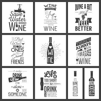 Set vintage wijn typografische aanhalingstekens