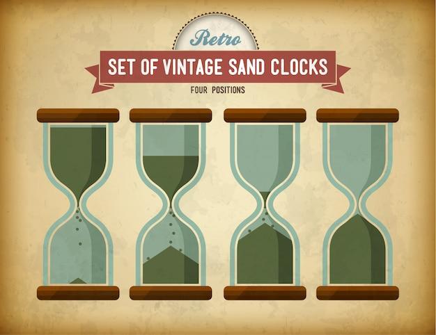Set vintage zand klokken