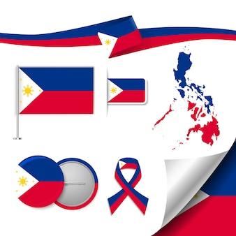 Set vlag elementen met filipijnen Premium Vector