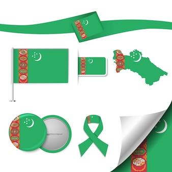 Set vlag elementen met turkmenistan