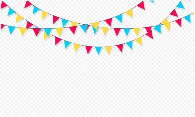 Set vlaggenslingers. carnavalsslinger met vlaggen. decoratieve kleurrijke feestwimpels voor verjaardagsviering, festival en kermisdecoratie. vakantieachtergrond met hangende vlaggen.