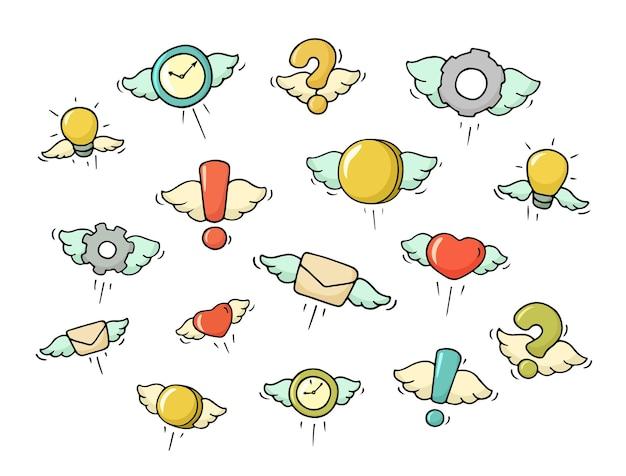 Set vliegende objecten. doodle schattige symbolen. hand getekende cartoon