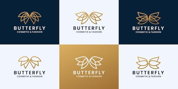 Set vlinderlogo-ontwerp voor cosmetica- en modemerk