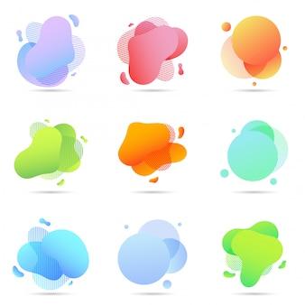 Set vloeibare kleur abstracte geometrische vormen