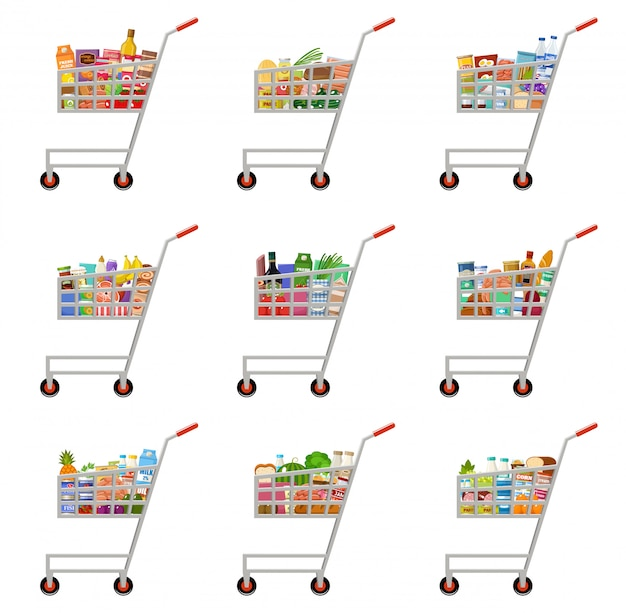 Set voedsel karren. supermarkt