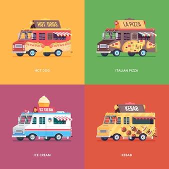 Set voedsel vrachtwagen illustraties. moderne conceptcomposities voor hotdog, italiaanse pizza, ijs en kebab-bestelwagen.