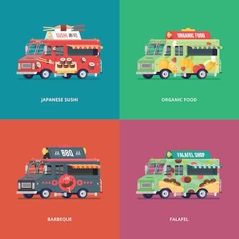 Set voedsel vrachtwagen illustraties. moderne conceptcomposities voor japanse sushi, groenten en fruit, barbecue en falafel bezorgwagen.