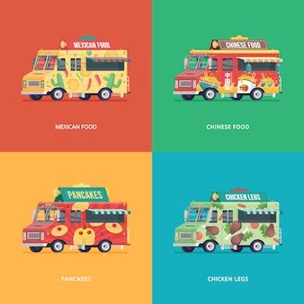 Set voedsel vrachtwagen illustraties. moderne conceptcomposities voor mexicaanse keuken, chinese keuken, pannenkoeken en kippenpoten bezorgwagen.