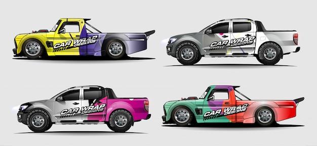Set voertuig grafische kit. moderne abstracte achtergrond voor auto wrap branding en auto sticker decals livery