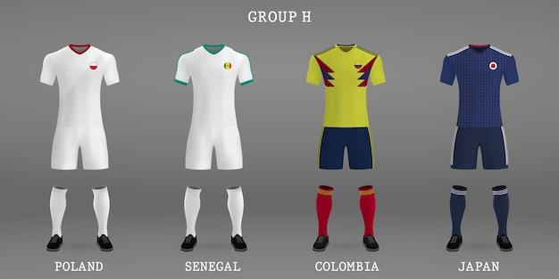Set voetbal kit, shirt sjabloon voor voetbal jersey.