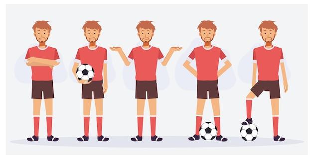Set voetbalspelerskarakters die verschillende acties tonen