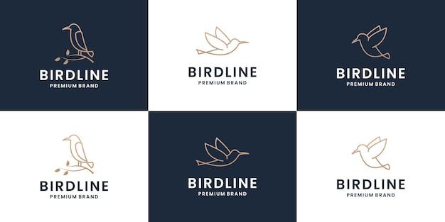 Set vogel logo sjabloon met lijn kunststijl. creatieve abstracte vogel logo-collectie. Premium Vector