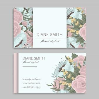 Set voor- en achterkant visitekaartje met bloemen