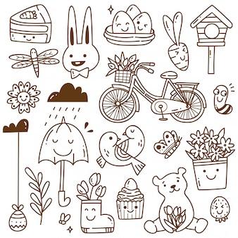 Set voorjaar gerelateerd object in kawaii doodle stijl