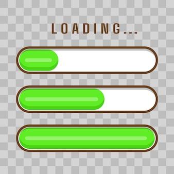 Set voortgangsbalkpictogrammen voor vetor-illustratie van de gebruikersinterface van het spel
