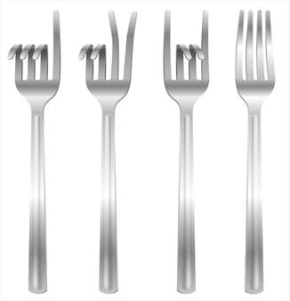 Set vorken gebogen in de vorm van gebaren