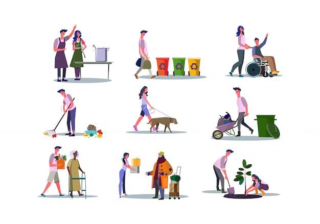 Set vrijwilligers die mensen helpen en zorgen voor het milieu