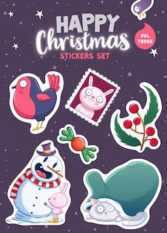 Set vrolijk kerstfeest en gelukkig nieuwjaar stickers of magneten. feestelijke souvenirs. vector illustratie