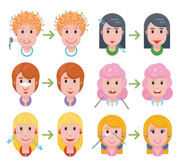 Set vrouw gezichten met een verschillende gezicht cosmetologie procedures en resultaten. schoonheidspictogrammen: neuscorrectie, botox, hyaluronzuur, rechttrekken van tanden, wimperextensions en laserontharing