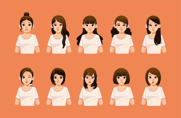 Set vrouw karakter met verschillende kapsels en gezichtsuitdrukking vlakke afbeelding. gebruikt voor mensenkarakter en andere