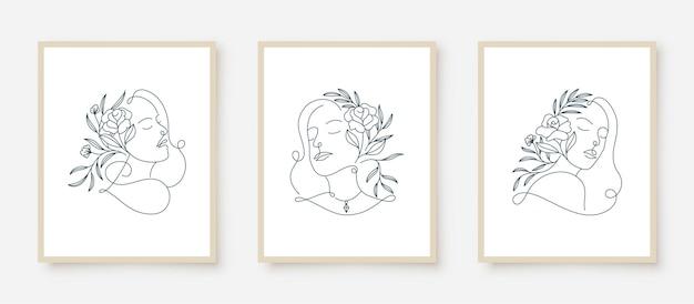 Set vrouw portretten lijntekeningen bloemen frame