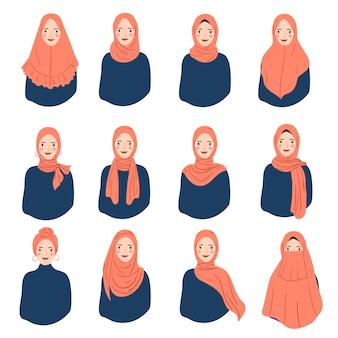 Set vrouw slijtage hijab trendy stijl. verschillende vrouw karakter avatar.