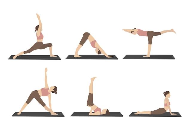 Set vrouw uitvoeren van yoga houdingen in bruin sport kleding