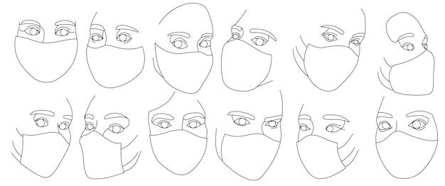 Set vrouwelijke gezichten in beschermende medische maskers getekend met één doorlopende lijn. minimalistische abstracte portretten van mooie vrouwen. moderne mode-concept. zwarte schets op witte achtergrond