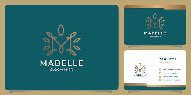 Set vrouwelijke letter m-sjabloonlogo's voor handgetekende schoonheids- en visitekaartjes