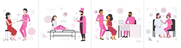 Set vrouwelijke patiënten die overleg hebben met artsen in roze jas borstkanker dag ziektebewustzijn en preventie