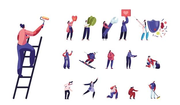 Set vrouwelijke personages schilderen muur met roller, skiën of biatlon sport, vechten met virus. vrouwen schaatsen op ijsbaan