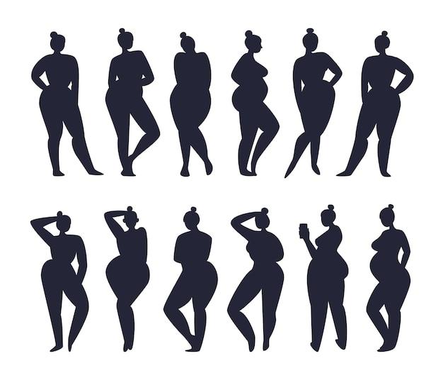 Set vrouwenfiguren met hetzelfde kapsel staan in twee rijen.