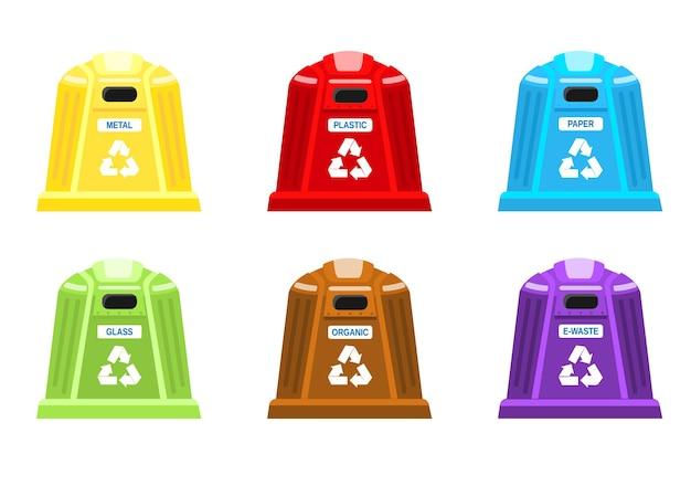 Set vuilnisbakken voor scheiding