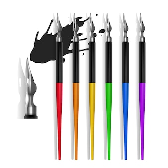Set vulpennen morsen donkere inkt, realistische stijl geïllustreerd