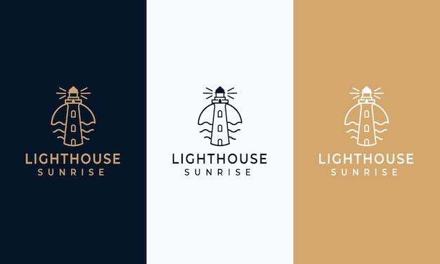 Set vuurtoren logo's ontwerpsjabloon