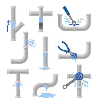 Set waterleidingen geïsoleerd op wit