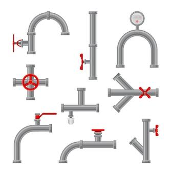 Set waterleidingen met een rode opening