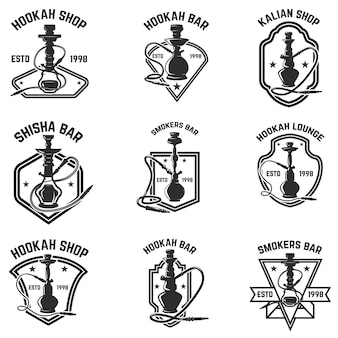 Set waterpijp bar emblemen. voor logo, label, teken, badge. illustratie