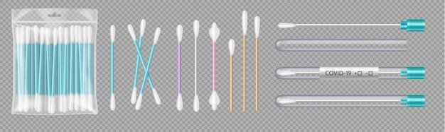 Set wattenstaafjes in transparante plastic verpakking en reageerbuisjes voor covis-19 testdiagnose geïsoleerd. wolapparaat voor cosmetica, make-up en medicijnen. vector illustratie