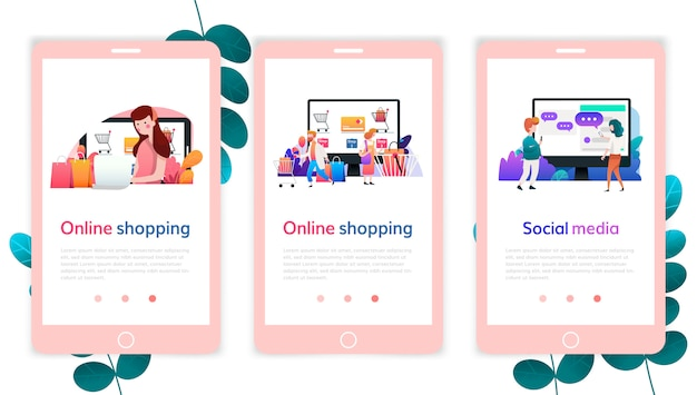 Set webpagina-ontwerpsjablonen voor online winkelen, digitale marketing, sociale media. moderne vector illustratie concepten voor website en mobiele website ontwikkeling.