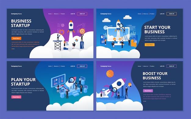 Set webpagina ontwerpsjabloon voor opstarten bedrijf
