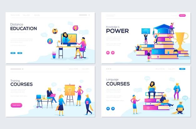 Set webpagina-sjablonen voor advies, training, afstandsonderwijs, taalcursussen.
