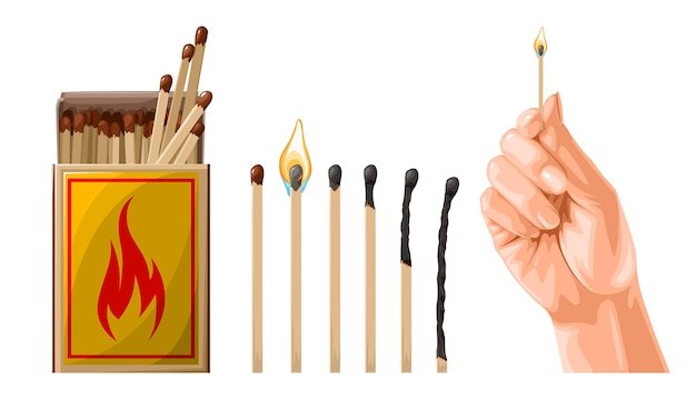 Set wedstrijden met hand illustratie