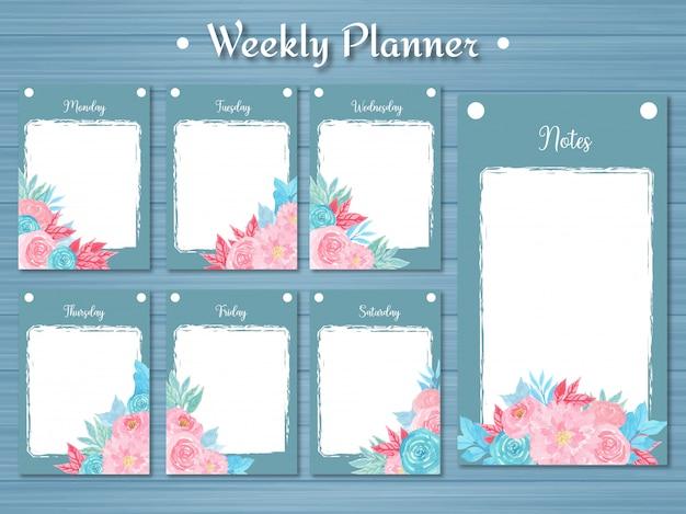 Set wekelijkse planner met kleurrijke bloemen en abstracte blauwe achtergrond