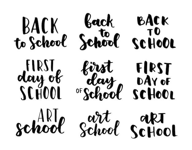 Set welkom terug naar school etiketten. schoolachtergrond. terug naar school verkoop label. vector illustratie. handgetekende belettering badges. typografie embleem set