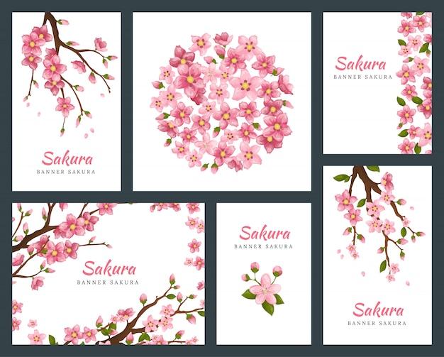 Set wenskaarten, banners en uitnodigingskaart met bloesem sakura bloemen. bloeiende bloemen illustratie bruiloft uitnodiging sjabloon